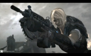 screenshot of Gears of War trailer in which a female soldier is seen